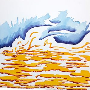 watercolor painting yellow waves blue sky